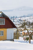 House in winter village — Stock Photo
