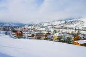 Winter mountain village view — Stock Photo