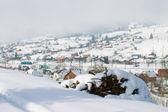 Winter village in snow — Stock Photo
