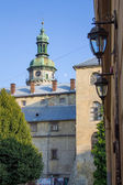 Tower in old Lviv city street — Stock Photo
