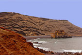 Volcanic-coastline-near-el-golfo-and-timanfaya — Stockfoto
