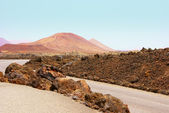 Field-of-lava-boulders-and-mountains-of-fire-in-Timanfaya — Stock Photo