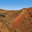 Panoramic-Shot-of-big-volcanic-crater-in-Timanfaya-National-Park — Stock Photo
