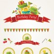 Birthday party vector elements — Stock Vector