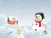 Christmas snögubbe hjälper santa. — Stockvektor