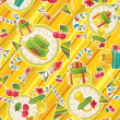 Stock Photo: Seamless pattern with party supplies
