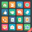 communication and media flat icons for web and mobile app — Stock Vector