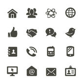 Communication icon set. Rounded corners. — Stock Vector