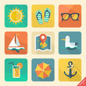 Summer icons. Flat design trend. Retro color. Vector illustratio — Stock Vector