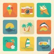 Stock Vector: Summer icon set 2. Flat design trend. Retro color.