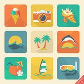 Summer icon set 2. Flat design trend. Retro color. — Stock Vector
