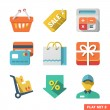 Stock Vector: Shopping icon set for Web and Mobile Application
