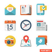Basic Flat icon set for Web and Mobile Application. — Stock Vector