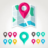 Map markers and flat map icon — Stock Vector
