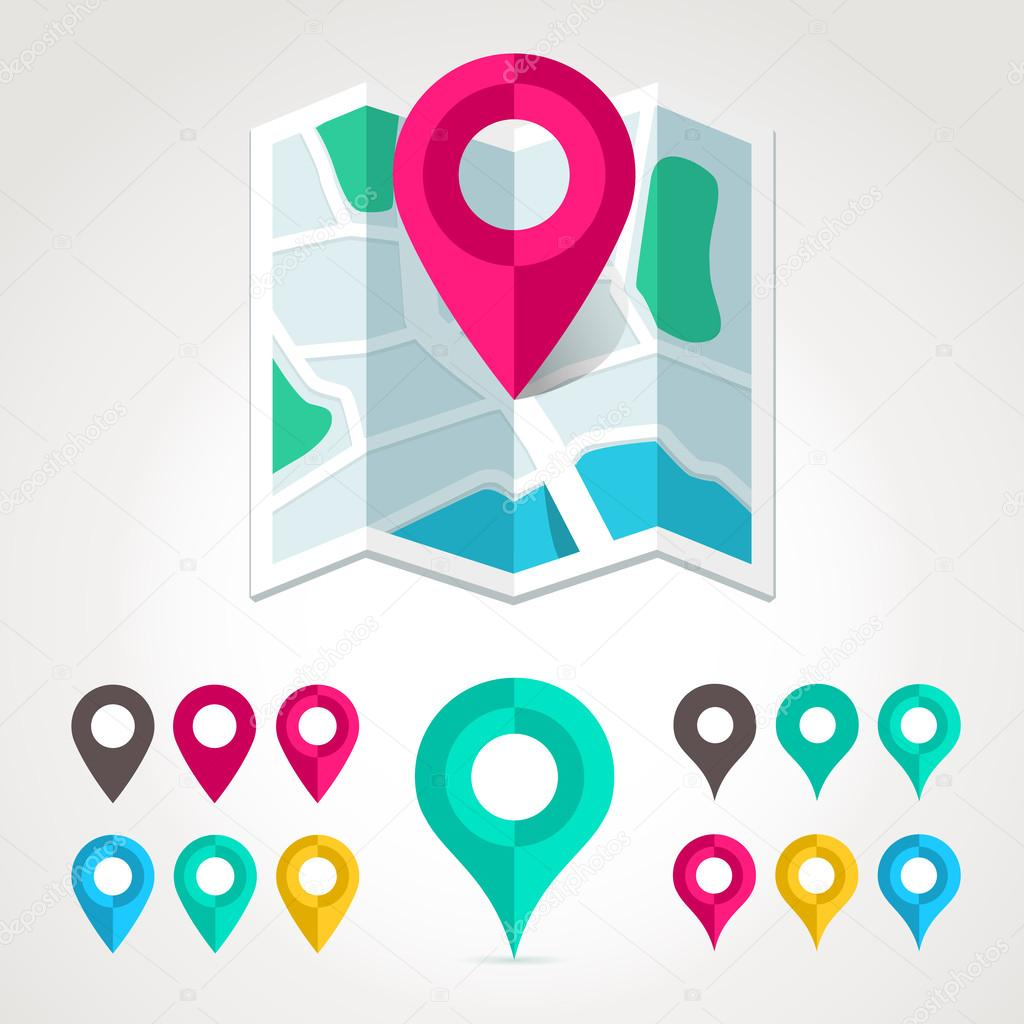 地图标记和平面地图图标 — 图库矢量图片#27285721
