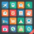 Stock Vector: Traveling and transport Flat icons