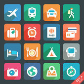 Traveling and transport Flat icons — Stock Vector