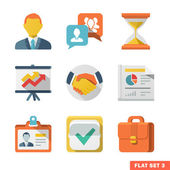 Business Flat icon set — Stock Vector