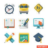 School and Education Flat Icons for Web and Mobile App — Cтоковый вектор