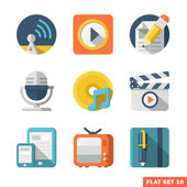 Media and Communication Flat icons — Stock Vector