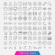 Stock Vector: 100 line icon set.