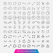 100 line icon set - Arrows. — Stock Vector