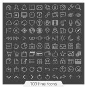 100 line icon set. — Stock Vector