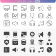 Stock Vector: Computer and mediset. Trendy line icons for web and mobile. No