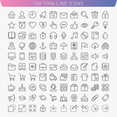 100 thin line icons for Web and Mobile — Stock Vector