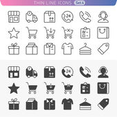 Shopping and money set. Trendy line icons for web and mobile. No — Stock Vector