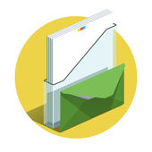 Vector illustration of detailed Office docs icon — Stock Vector