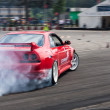 Unknown driver performs drifting demonstration at Third stage of National Drift Championship — Stock Photo #12178979