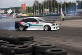 Unknown driver performs a drifting demonstration at Third stage of the National Drift Championship — Stock Photo