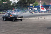 Unknown driver performs a drifting demonstration at Third stage of the National Drift Championship — Стоковое фото