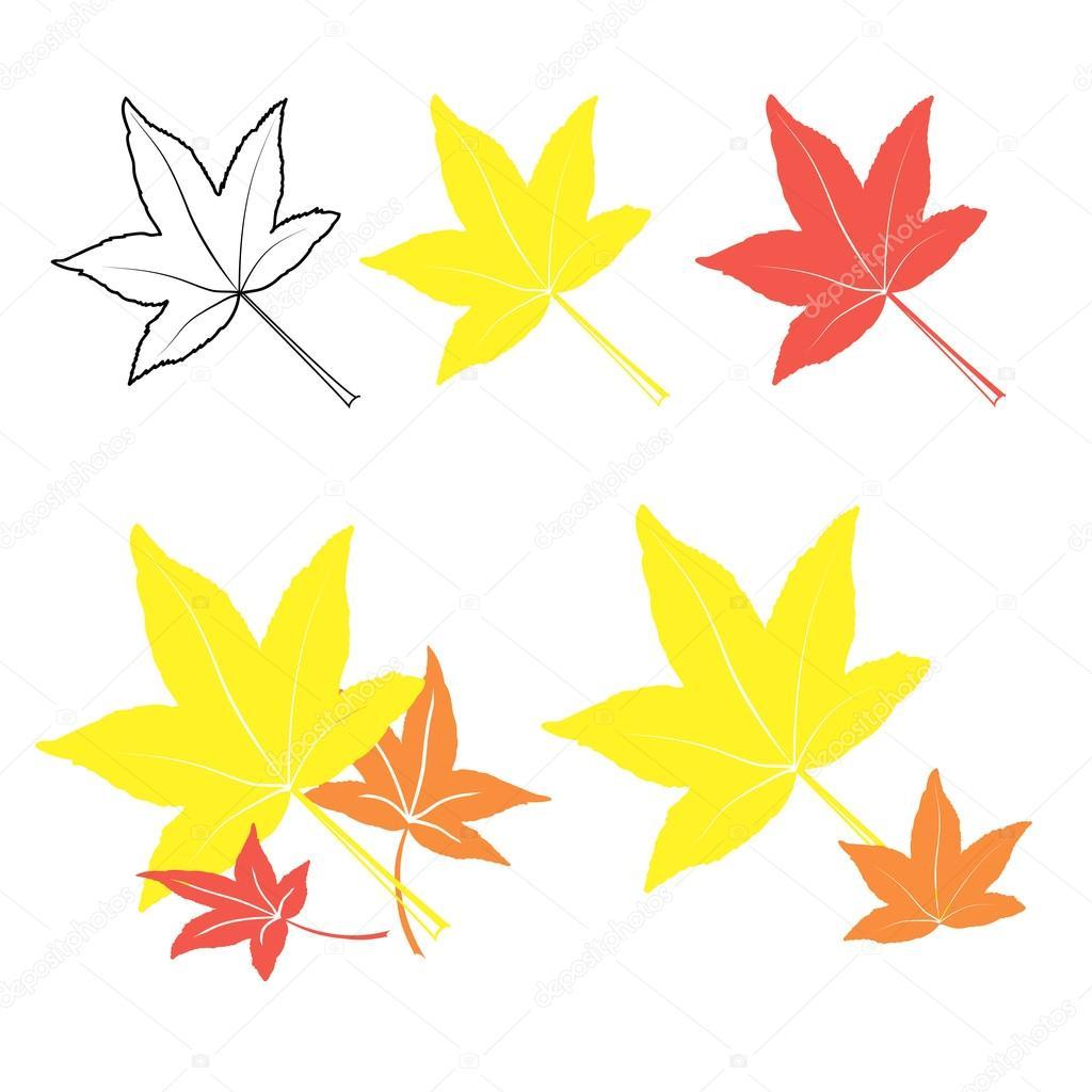 矢量组的多彩,秋天的叶子手绘制的样式,矢量图 — 矢量图片作者 kotko