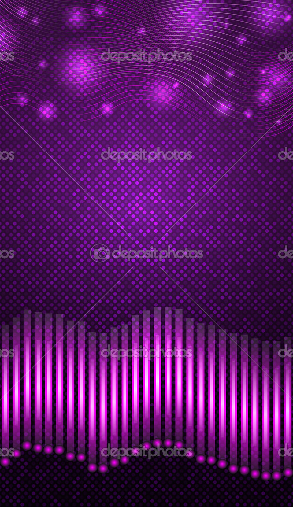 Equalizer with purple lights over violet background. Vector illustration.  Stock Vector #13646351