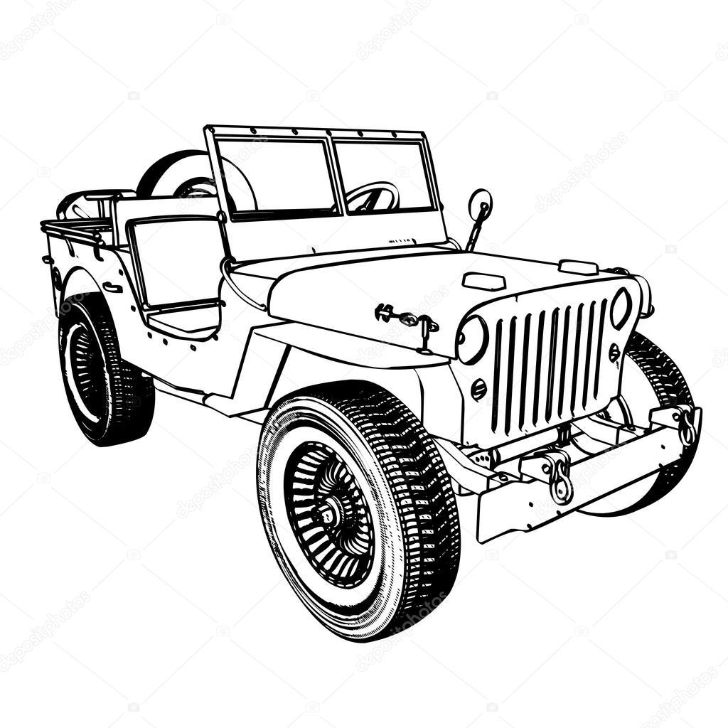 Line Drawing Jeep : Vintage wwii american jeep — stock vector kotkoa