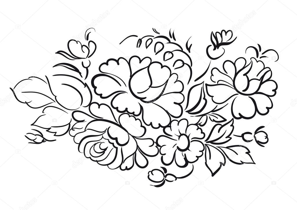 Flower pattern on white background. Vector illustration. — Stock Vector #13733563