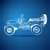 Vintage Blueprint of American Jeep — Stock Vector