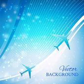 Aeroplano sobre fondo azul — Vector de stock