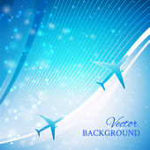Airplane on blue background — 图库矢量图片