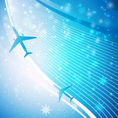 Airplane on blue background — Stock Vector