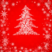Christmas tree on red — Stock Vector