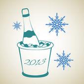 Bottle of wine in ice bucket — Stock Vector