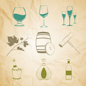 Set of wine items — Stock Vector
