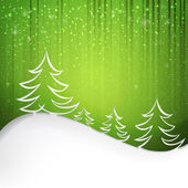 Green background with snowflakes — Stock Vector
