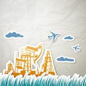 Technique for oil in a landscape — Stock Vector