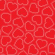 Seamless pattern of red hearts — Vector de stock #18409013