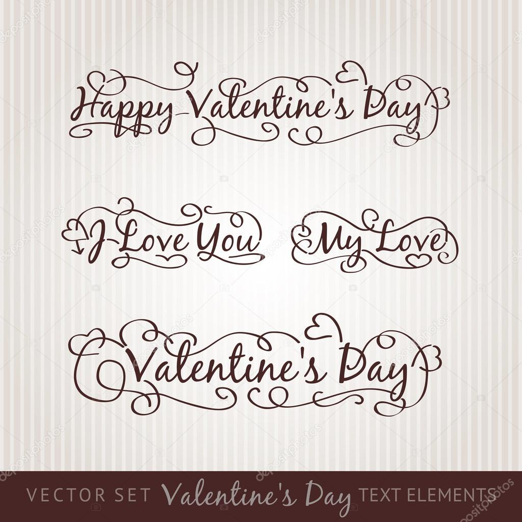 Happy valentine's day hand lettering. Scalable and editable vector illustration. — Stock Vector #18409201