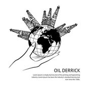 Oil rig in hand — Stock Vector